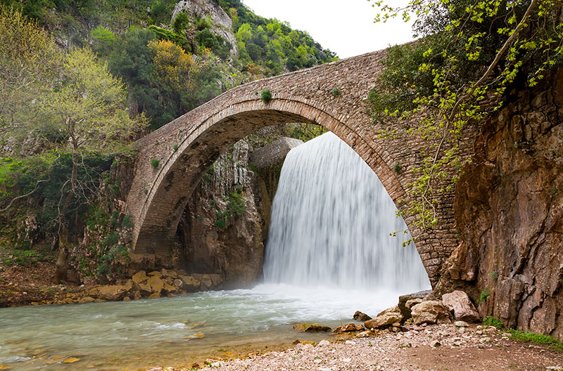 Palaiokarya bridge and waterfall, Thessaly