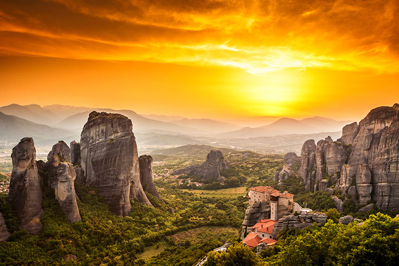 Meteora Roussanou Monastery at sunset