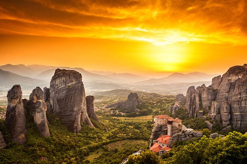 Meteora Roussanou Monastery at sunset