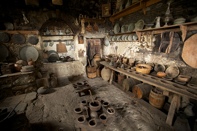 Old kitchen in monastery, Meteora