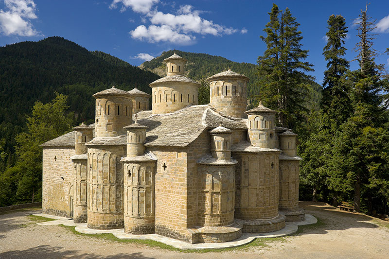 The famous church of Holy Cross (Timiou Stavrou), with it's thirteen domes, near Doliana village in Aspropotamos region, Trikala