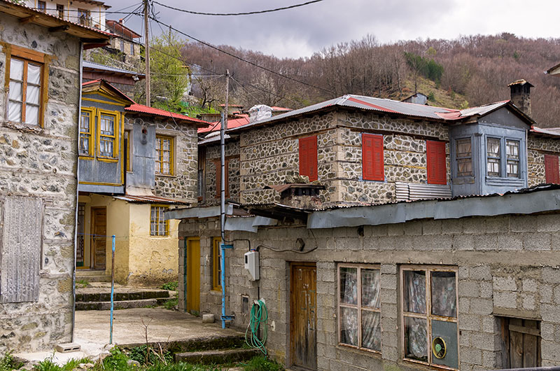 Houses in the beautiful Milia village, near Metsovo, Greece, a popular winter destination