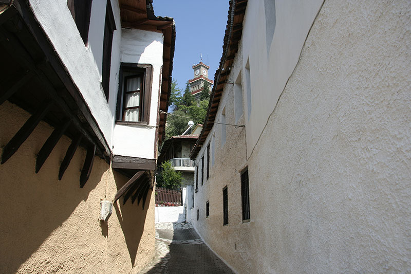 A traditional Greek neighborhood in the old town of Trikala, Greece.