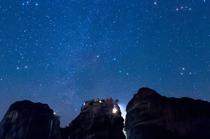 Starry sky seen from Meteora