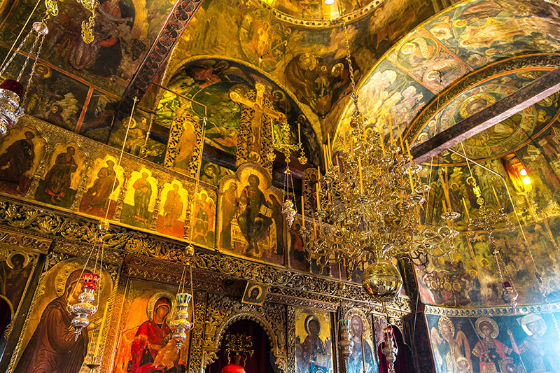 Interior of monastery in a summer day in Meteora