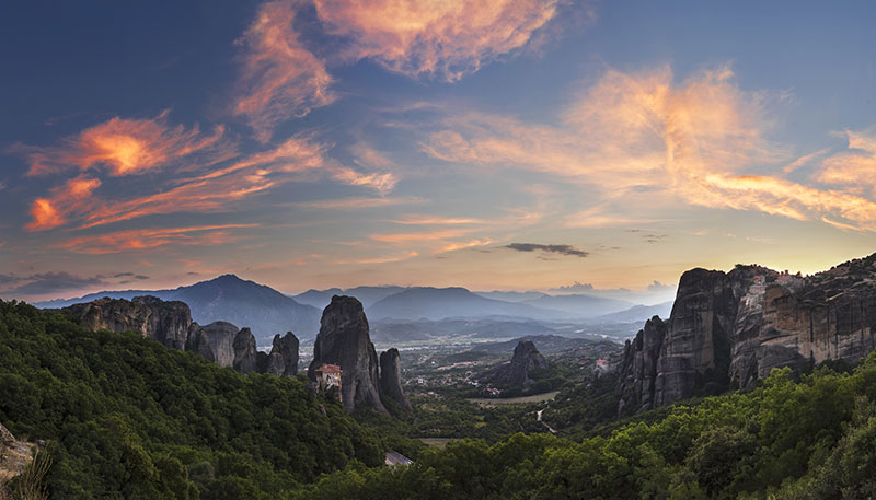 Monastery Meteora, Greece at sunset