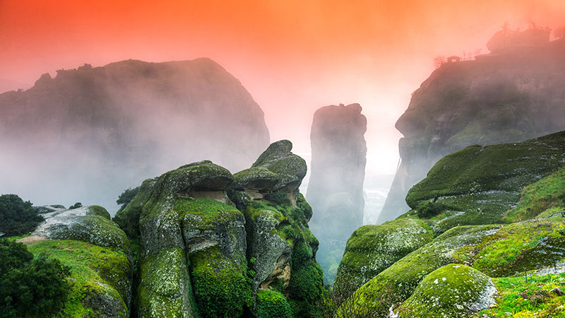 Highlands in orange mist