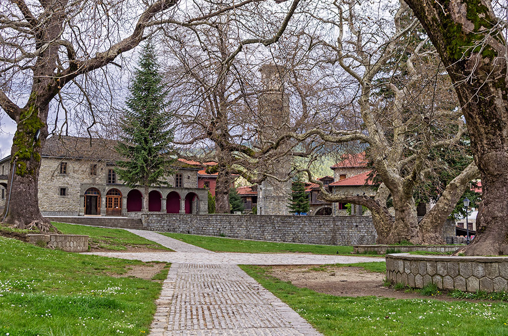 Old Byzantine church in Metsovo, Greece, on an overcast day