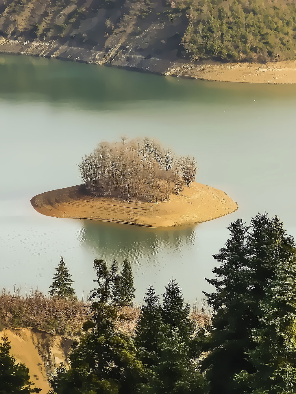 Plastiras lake view with small island, in central Greece - Painting effect